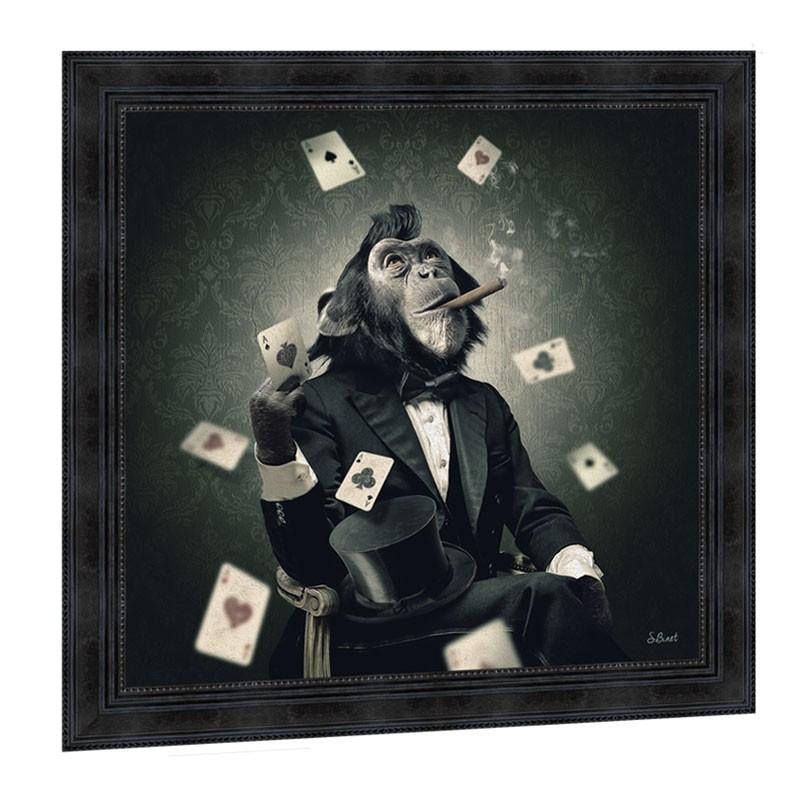 """SINGE POKER"", 68x68 cm, tableau design SYLVAIN BINET"