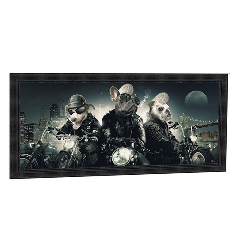 """"""" CHIENS MOTARDS """", 76 X 153 cm, tableau design SYLVAIN BINET"""