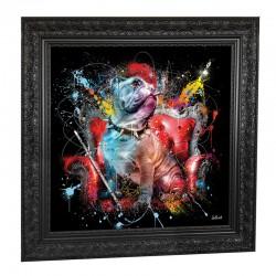 """ BOULEDOGUE ANGLAIS "", 89x89 cm, tableau design SYLVAIN BINET"