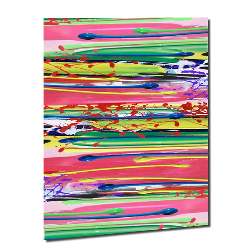 """ Lignes multicolores "", tableau contemporain design 90x120"