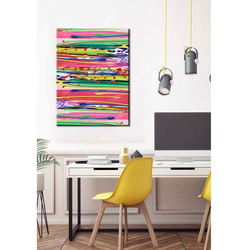 """ Lignes multicolores "", tableau contemporain design 90x120"