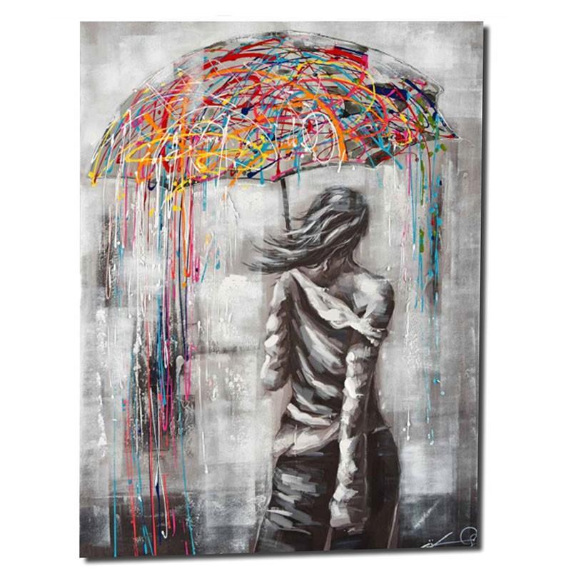 """ Jeune femme au parapluie "", Tableau contemporain design"