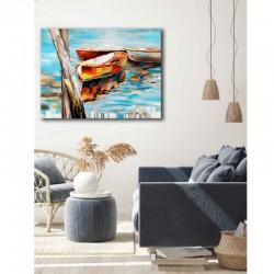 """""""BARQUES """", tableau contemporain marin"""