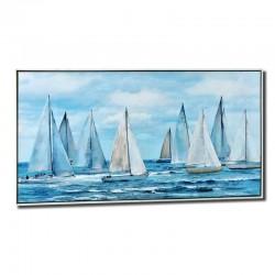 """Tableau contemporain """" Mer et voiliers """", 70 x 140"""