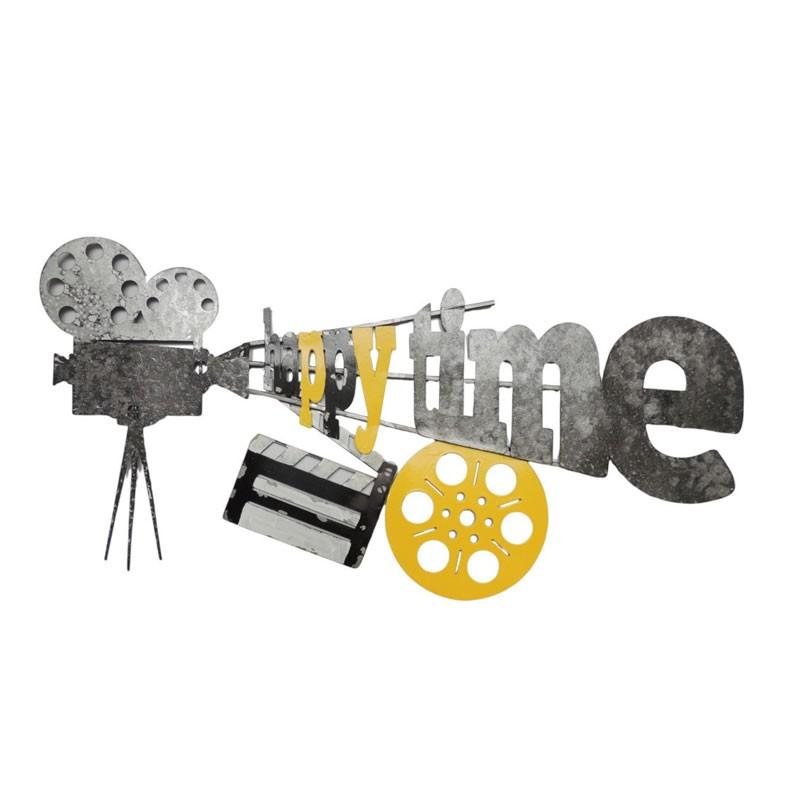""""""" Caméra HAPPY TIME """",décoration murale métal cinéma"""