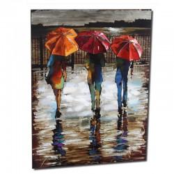 """Tableau contemporain  """" Parapluies """", bois et métal"""