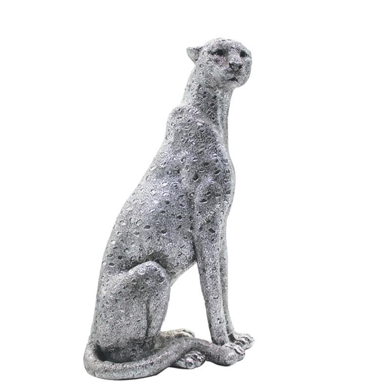 """"""" Panthère argentée """", Statuette déco design 37 cm"""