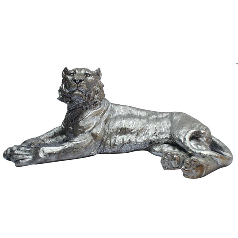 """"""" Tigre argenté """", Statue déco design,108 cm"""