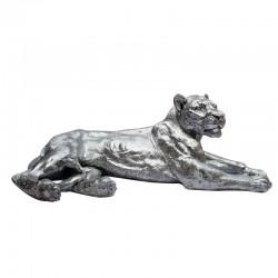 """"""" Lionne couchée argent """", Statue déco design, 113 cm"""
