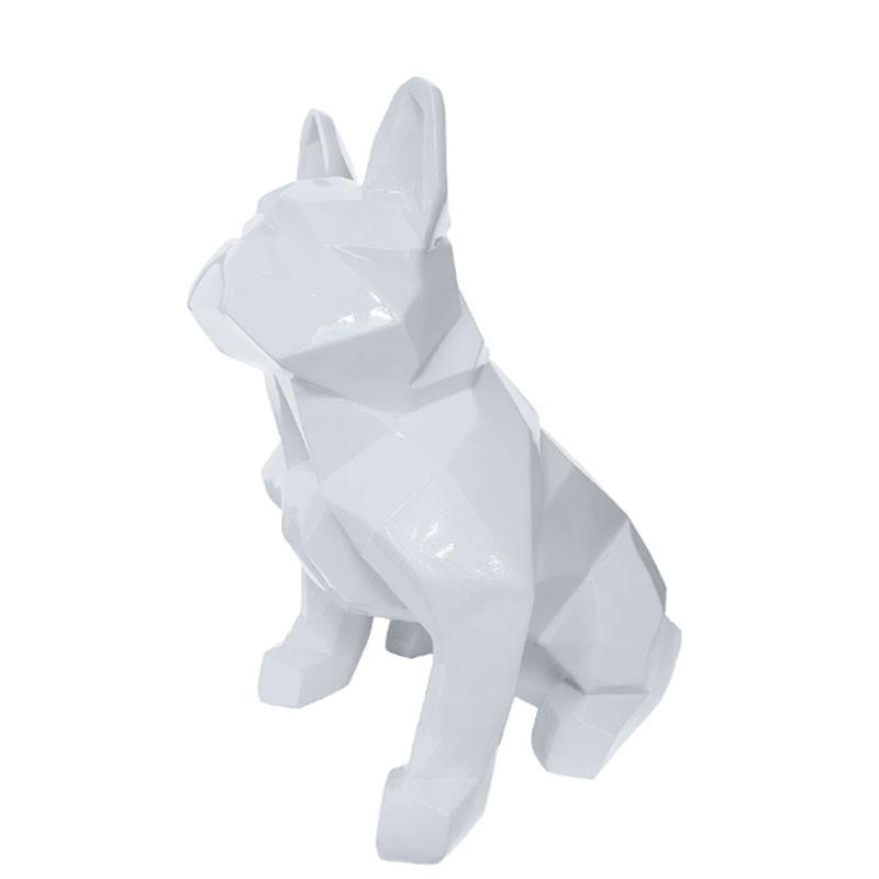 """""""Bouledogue origami blanc"""", statuette déco design"""