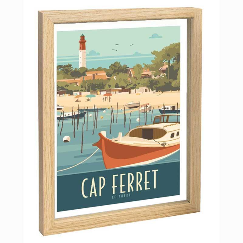 Cap Ferret Travel poster 30x40 fond bleu