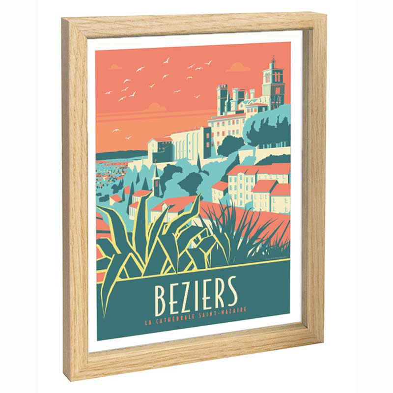 Beziers Travel poster 30x40 la cathédrale Saint Nazaire
