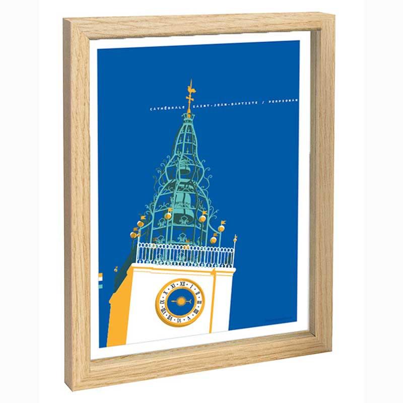 Perpignan Travel poster 30x40 cathédrale Saint Jean Baptiste