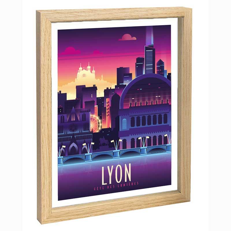 Lyon Travel poster 30x40 fête des lumières