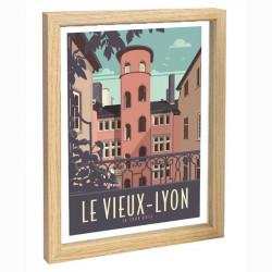 Vieux Lyon Travel poster 30x40 la tour rose