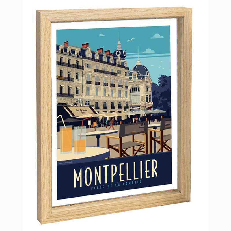 Montpellier Travel poster 30x40 place de la Comédie