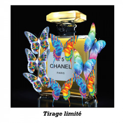 """Butterfly, Chanel n°5"", tableau plexi design"