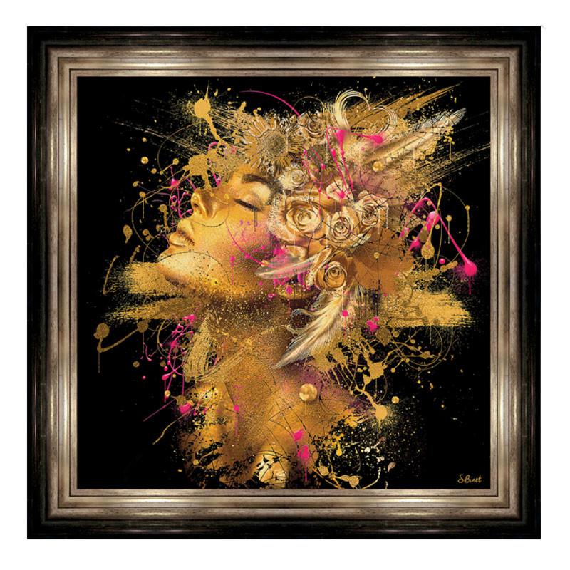 """"""" FEMME EN OR """", 82x82 cm, tableau design SYLVAIN BINET"""