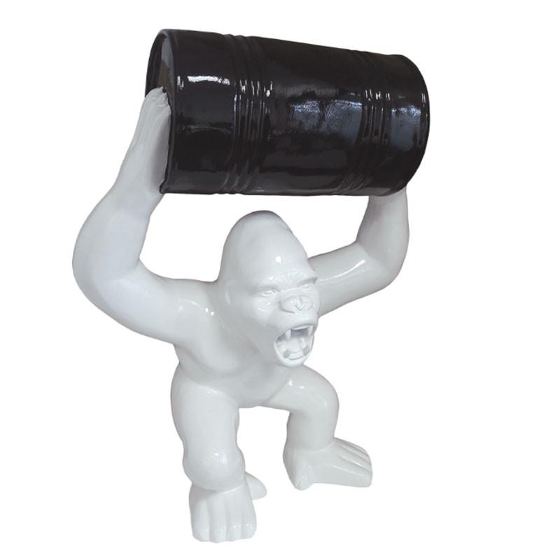 GORILLE BLANC BARIL NOIR, sculpture et statue design
