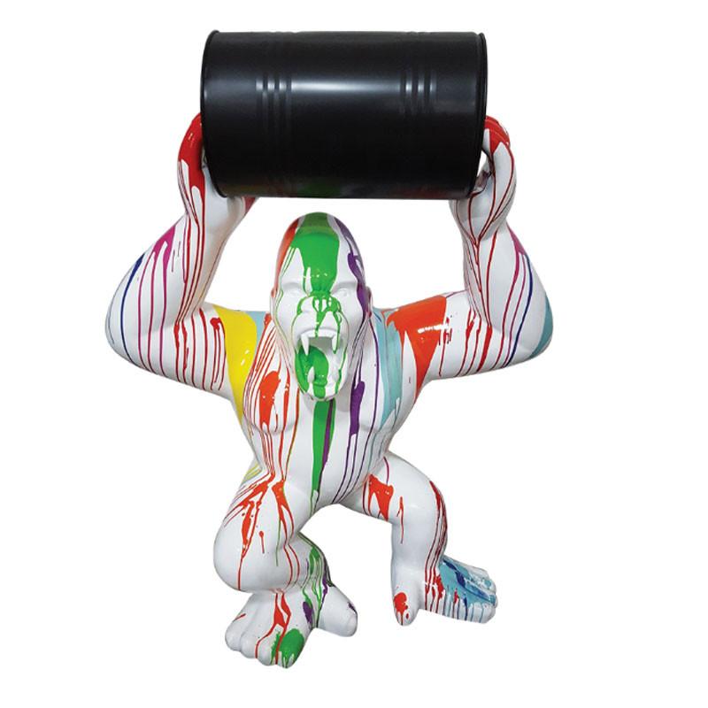 GORILLE ET BARIL TRASH BLANC, 65 cm, sculpture et statue design