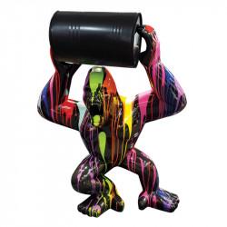 GORILLE ET BARIL TRASH NOIR, 65 cm, sculpture et statue design