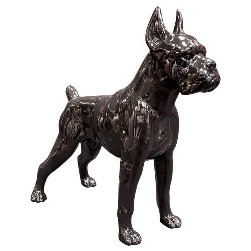 CHIEN BOXER noir, 85 cm, sculpture et statue design