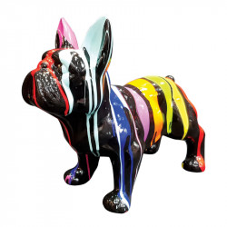 BOULEDOGUE FRANÇAIS MULTICOLORE, 37 cm, sculpture et statue design