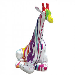 GIRAFE MULTICOLORE, 90 cm, sculpture et statue design