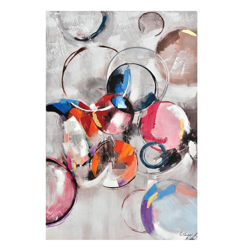 """ CERCLES COLORÉS "", tableau contemporain 80x120 cm"