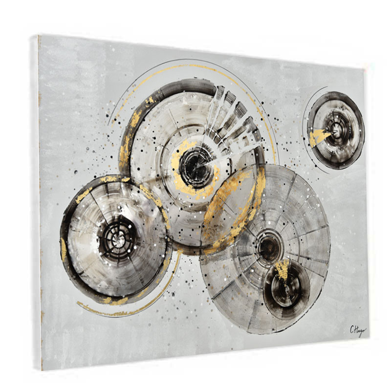 """ CERCLES DESIGN "", tableau contemporain abstrait, 90x120 cm"