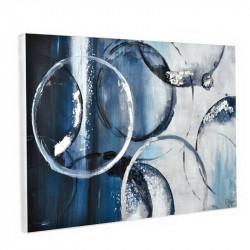 """"""" CERCLES BLEUS """", Tableau contemporain abstrait 80 x 120 cm"""