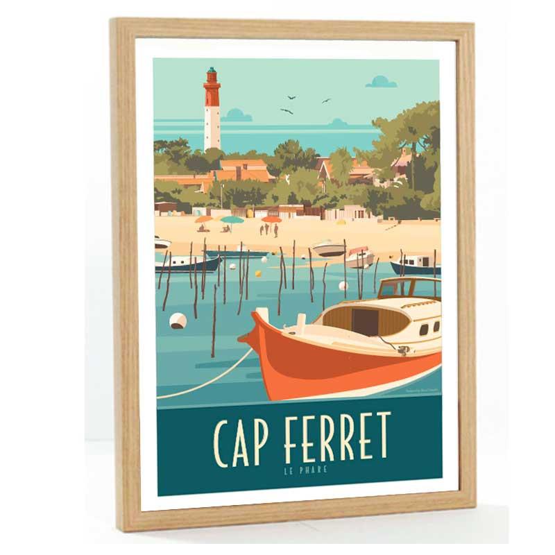 Cap Ferret Travel poster 50x70 fond bleu