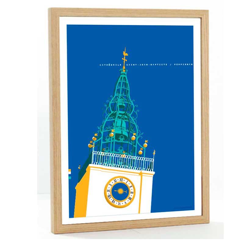 Perpignan Travel poster 50x70 cathédrale Saint Jean Baptiste