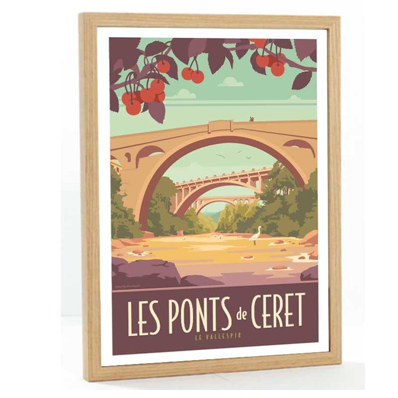 Le Vallespir Travel poster 50x70 les ponts de Ceret