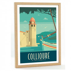 Collioure Travel poster 50x70 la cote Vermeille