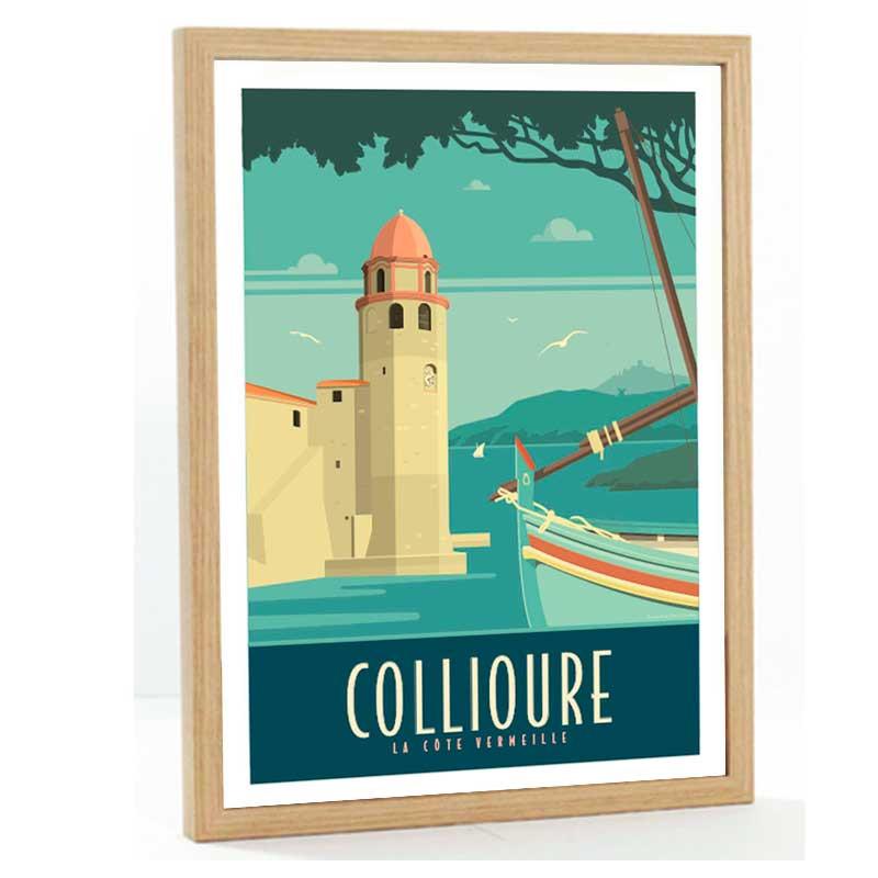 Collioure Travel poster 50x70 la cote Vermeille