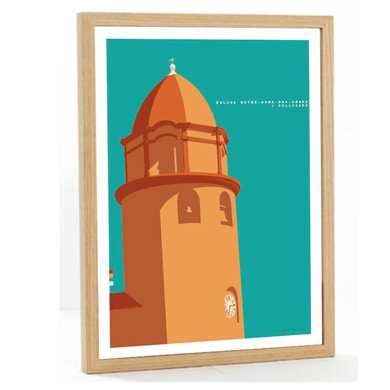 Collioure Travel poster 50x70 église Notre Dame des Anges