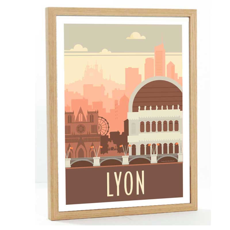 """""""Lyon"""", Travel poster vintage ,50x70"""