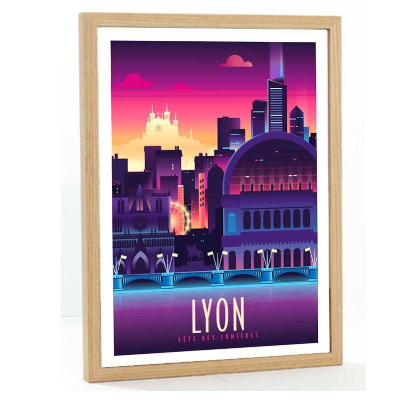 """""""Lyon, Fête des lumières"""", Travel poster vintage,50x70"""