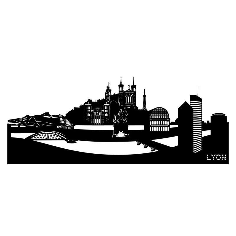 """"""" LYON"""", Skyline, décoration murale métal découpé"""