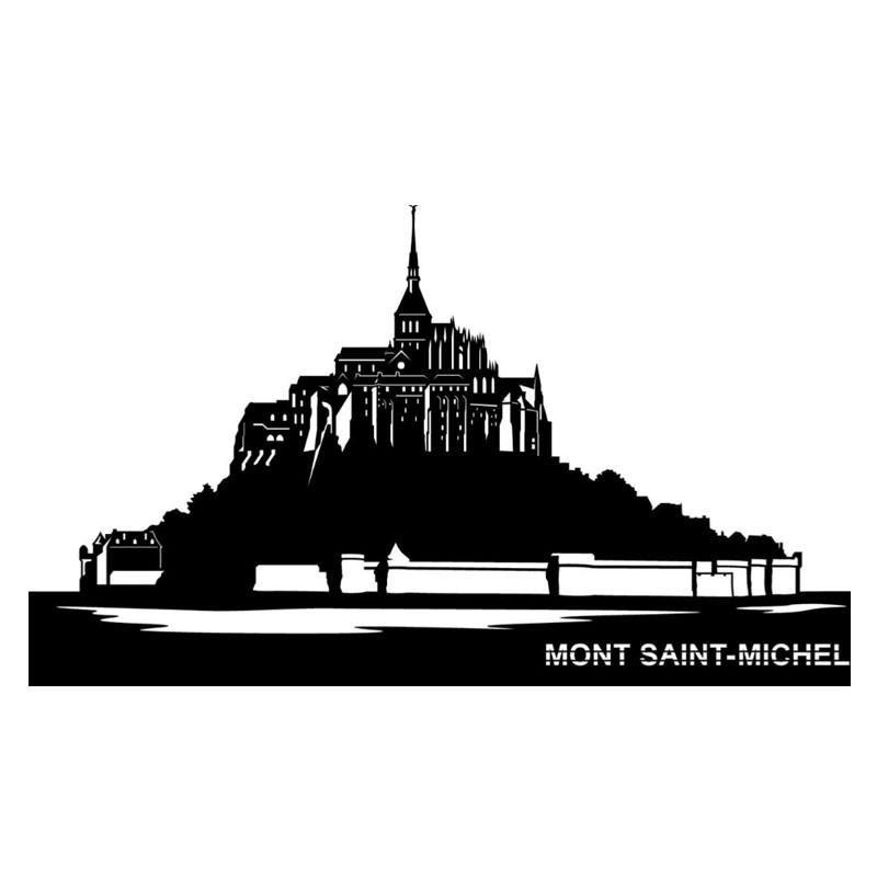 """"""" MONT SAINT-MICHEL"""", Skyline, décoration murale métal découpé"""