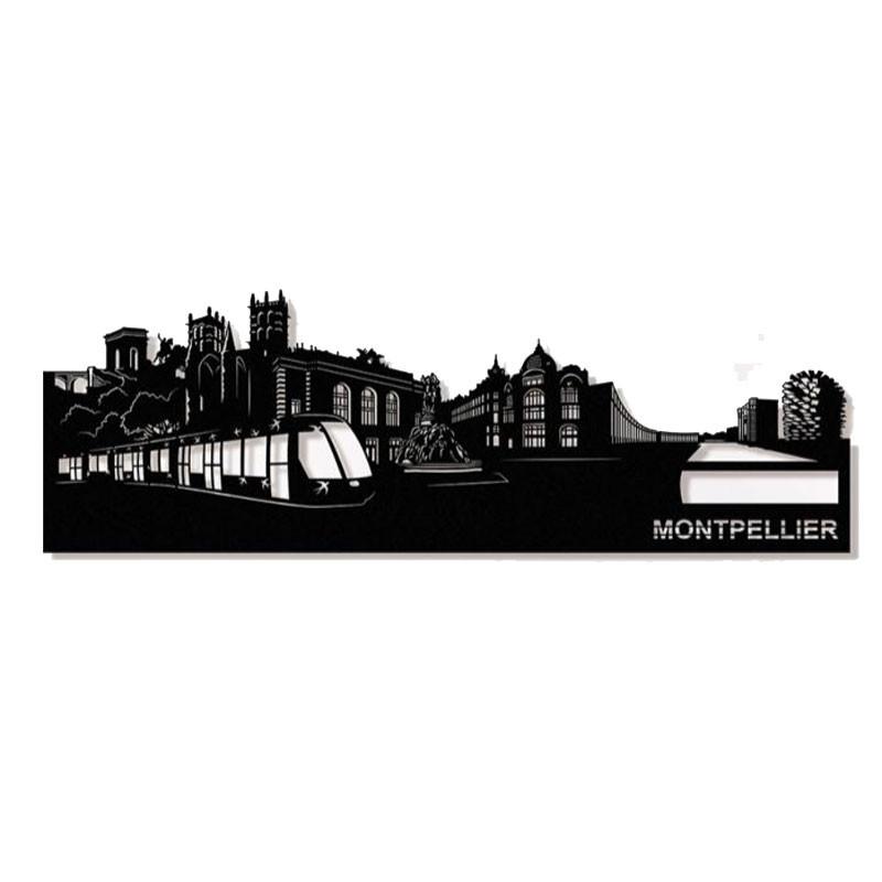 """"""" MONTPELLIER """",Skyline, décoration murale métal"""