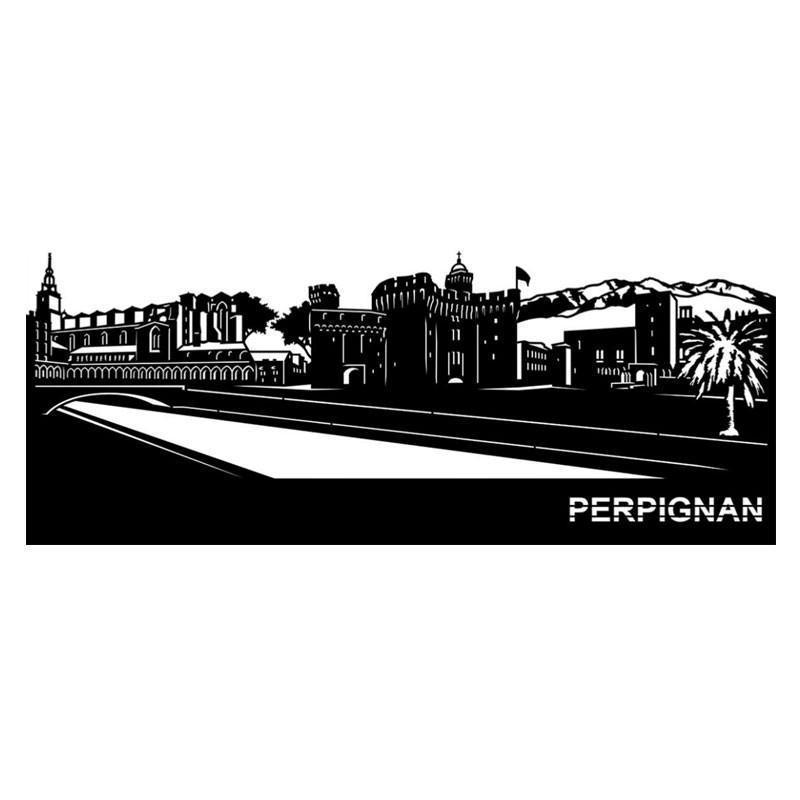 """"""" PERPIGNAN """",Skyline, décoration murale métal"""