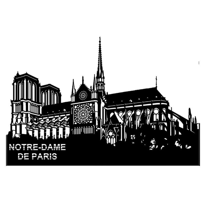""""""" NOTRE-DAME DE PARIS """", Skyline, décoration murale métal"""