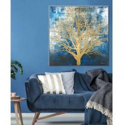 """"""" ARBRE DE VIE """", doré fond bleu, tableau contemporain floral"""