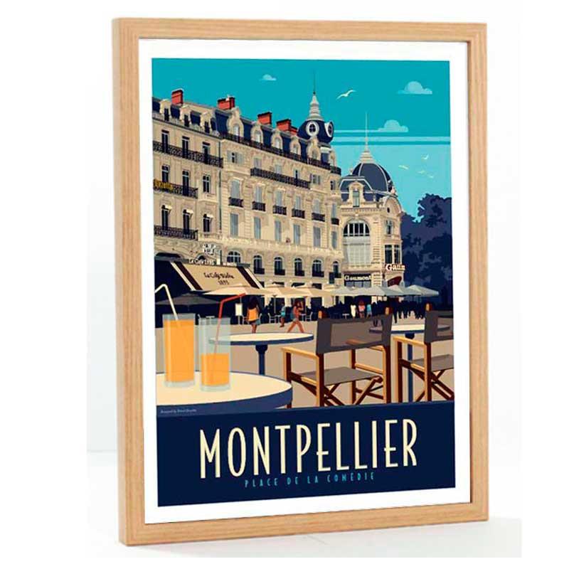"""""""Montpellier, place de la comédie"""", Travel poster vintage, 50x70"""