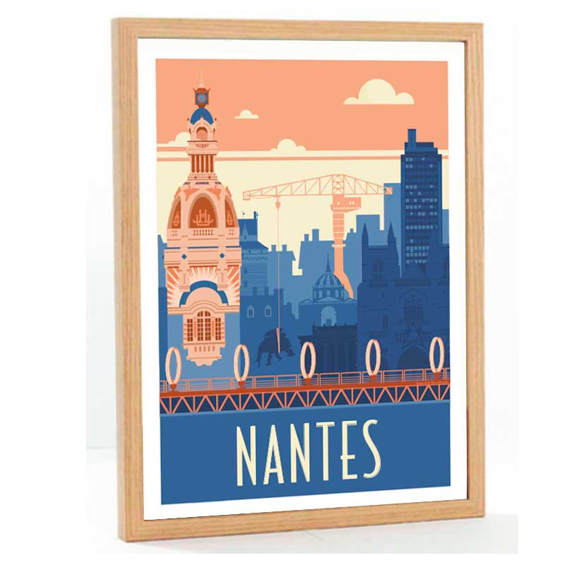 """Nantes"", Travel poster vintage, 50x70"