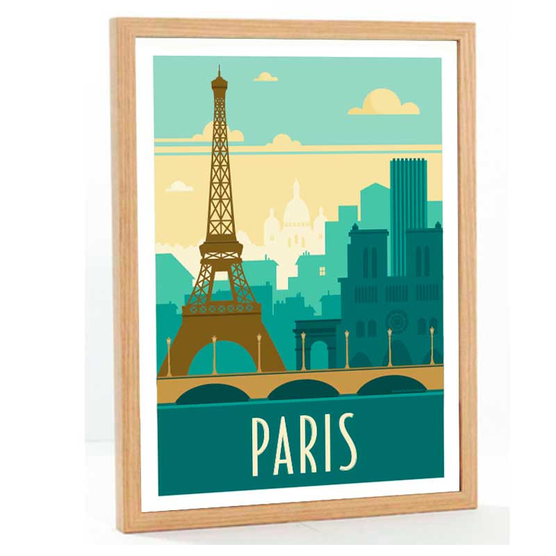 """""""Paris, Tour Eiffel"""", Travel poster vintage, 50x70"""