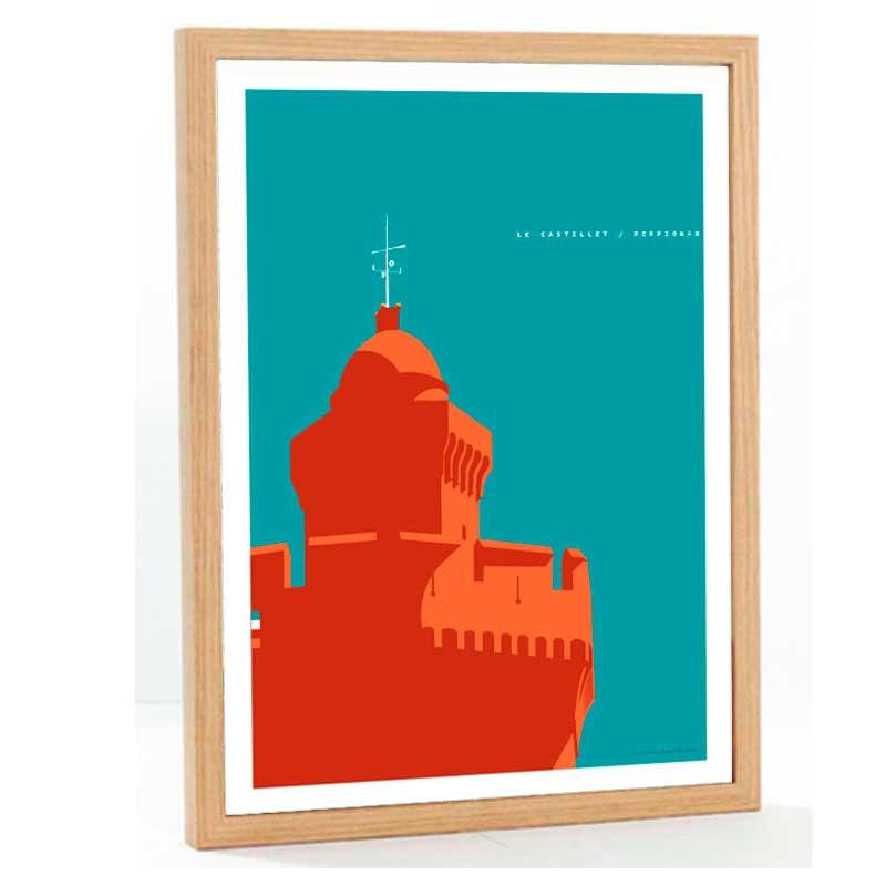 """""""Perpignan, Le Castillet"""" Travel poster vintage, 50x70"""