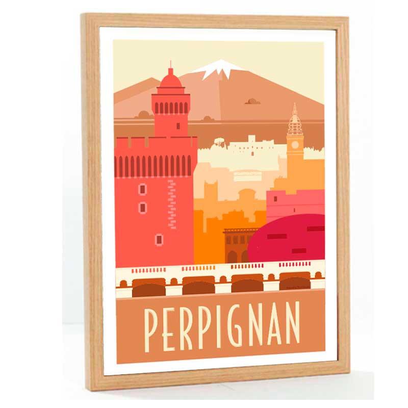 """""""Perpignan rétro"""" Travel poster vintage, 50x70"""